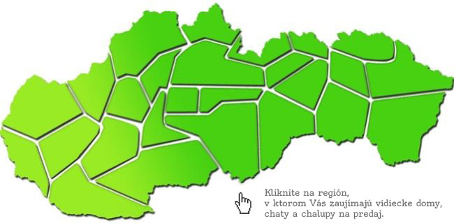 Mapa Slovensko - Romantické chalupy na predaj